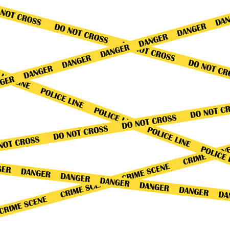 Crime scene yellow tape, police line on white background