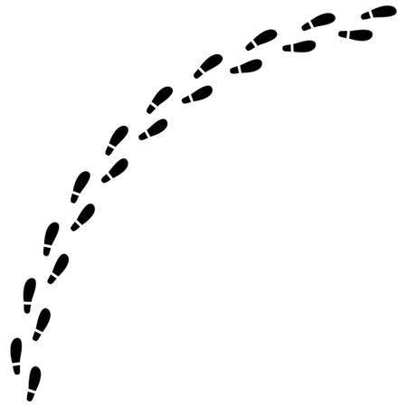 Imprint shoes road isolated on white background Illustration