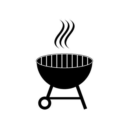 Outdoor grill vector. BBQ grill icon isolated on white background Illustration