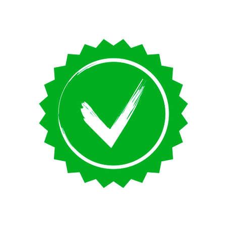 Illustrazione vettoriale di adesivo stella verde approvato isolato su priorità bassa bianca Vettoriali
