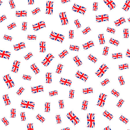 Abstract seamless background with british flags. Çizim