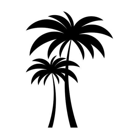 Black vector two palm tree silhouette icon on white background