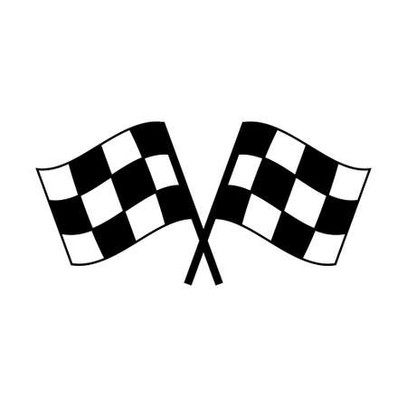 Two crossed auto racing flag icon. Finish checkered flag isolated on white background Çizim