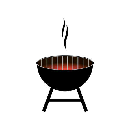 Vector barbecue grill icon isolated on white background