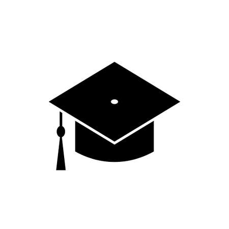 Graduation hat vector icon on white background