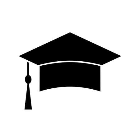 Icono de vector de sombrero de graduación sobre fondo blanco Ilustración de vector