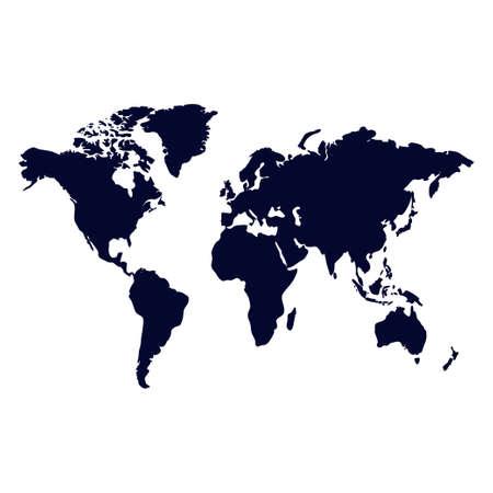 Weltkartenvektor isoliert auf weißem Hintergrund Vektorgrafik