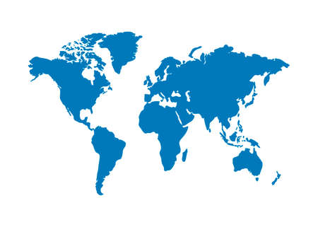 Vettore di mappa del mondo isolato su sfondo bianco Vettoriali