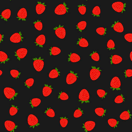 Seamless strawberry pattern on black background