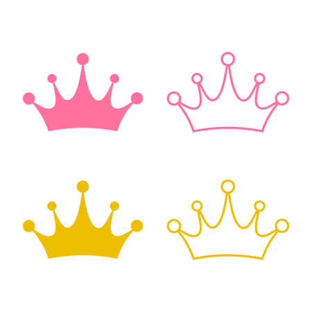Crown icon vector. Princess crown isolated on white background Çizim