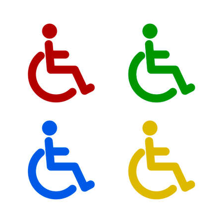 Disabled icon vector. Disabled wheelchair icon. Disabled person icon isolated on white background