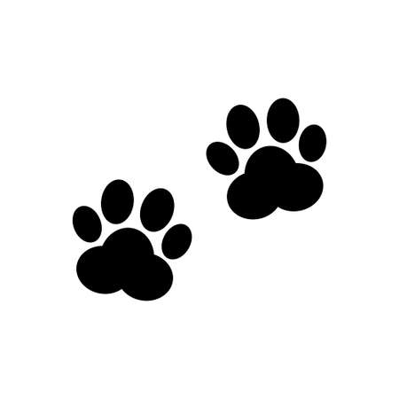 Paw prints vector icon. Animal tracks sign isolated on white background