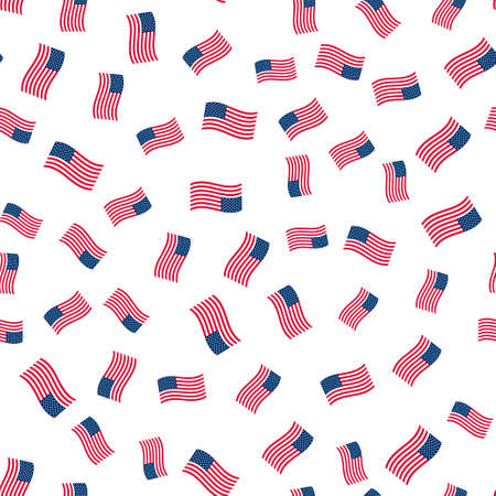 Abstract seamless background with american flags. Çizim
