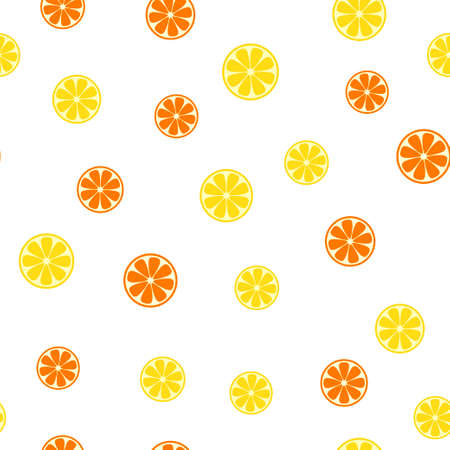Seamless pattern with lemon and orange slice