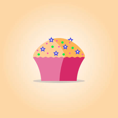 Cupcake flat icon, vector illustration.