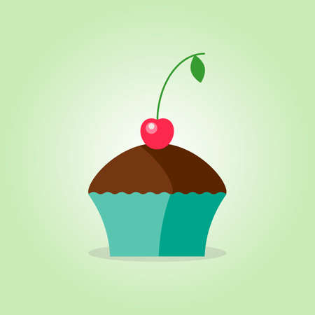 Chocolate muffin with cherry vector illustration