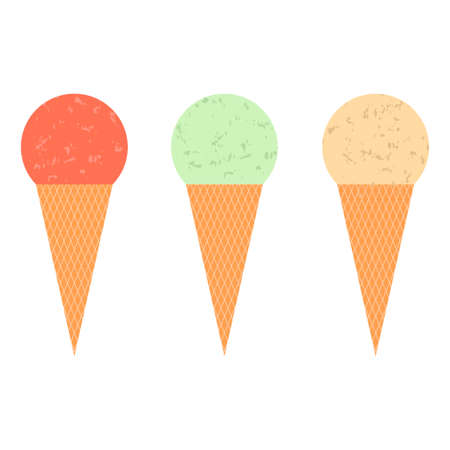 Set of ice cream cones vector Illustration