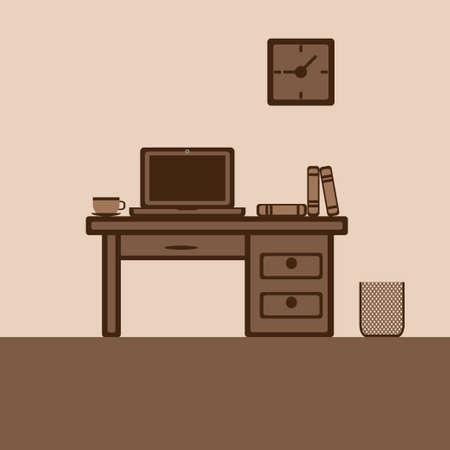 Flat desktop home office vector illustration. Ilustração