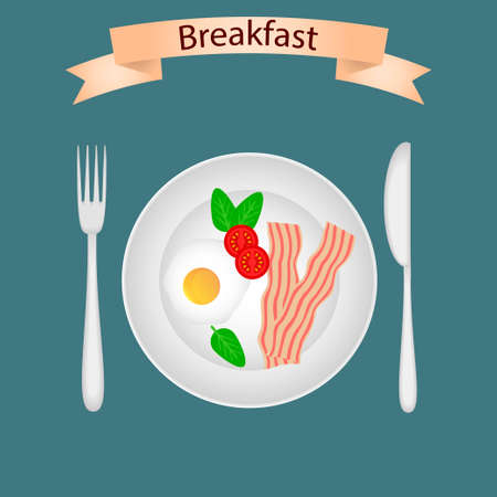 Breakfast food vector. Breakfast table in flat style.