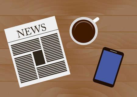 Breakfast time background, vector illustration