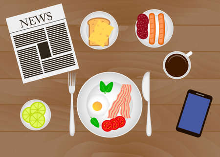 Breakfast table vector illustration. Set breakfast icons vector