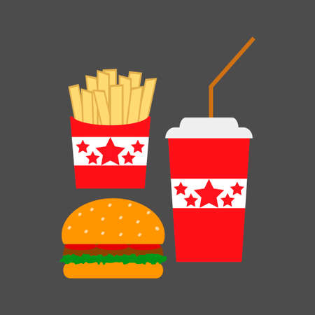 Set of fast food icons vector Çizim