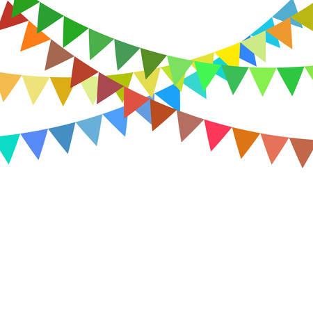 Guirnaldas de banderas de empavesados brillantes multicolores aisladas sobre fondo blanco