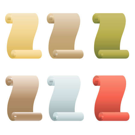 Paper scroll icon vector set isolated on white background