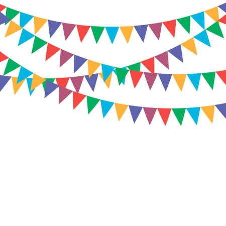Guirnaldas de banderas de empavesados brillantes multicolores aisladas sobre fondo blanco Ilustración de vector