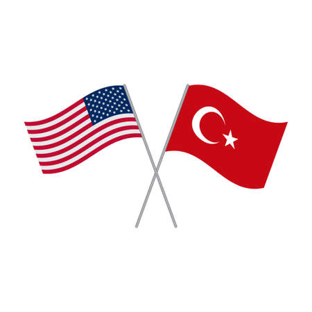 American and Turkey flags vector isolated on white background