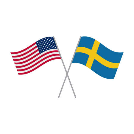 American and Swedish flags vector isolated on white background