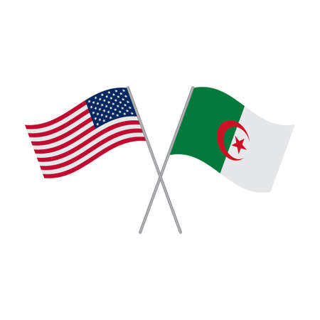 American and Algerian flags vector isolated on white background