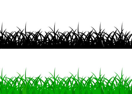 Grass borders, green and black on white background Vettoriali
