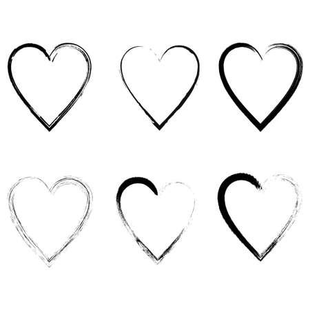 Vector hearts silhouettes. Heart shape design for love symbols vector