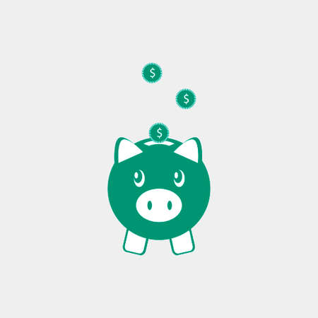 Piggy bank icon isolated. Vector illustration
