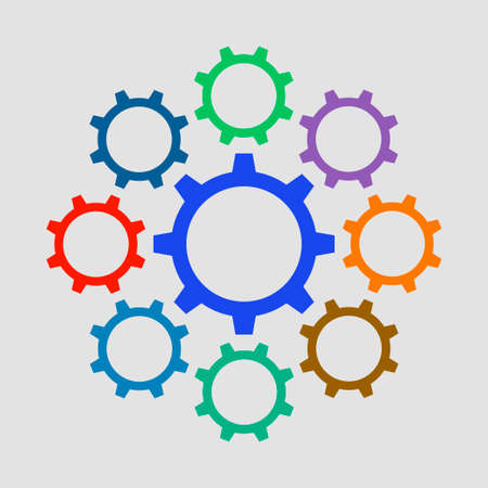 Colorful gears icon in flat design. Vector illustration Vector Illustration