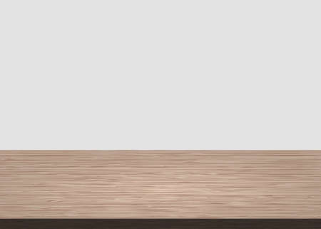 Empty wood table top on white concrete background. Wooden background vector