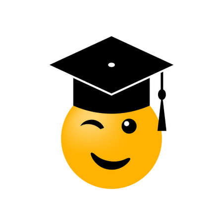Emoticon graduate icon in academic hat on white background. Vector illustration