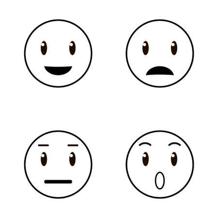 Set of emoticons, emoji icon isolated on white background. Black and white vector illustration