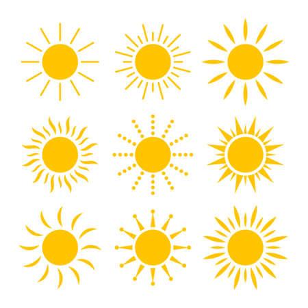Jeu d'icônes de soleil isolé sur fond blanc. Illustration vectorielle