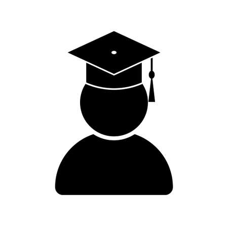 Graduate student with graduation cap icon isolated on white background. Vector illustration