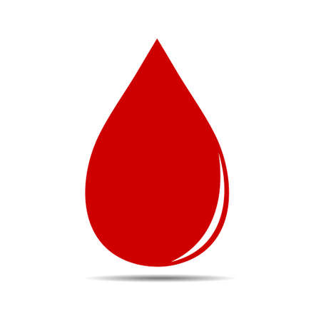 Red blood drop icon isolated on white background. Vector illustration