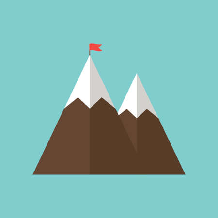 Mountain with flag, success icon isolated on white background. Vector illustration