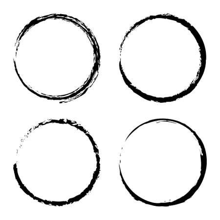 Vector set of grunge circle brush isolated on white background