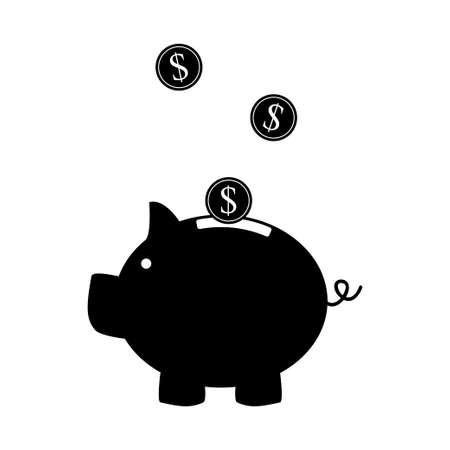 Piggy bank icon flat design on white background. Vector illustration