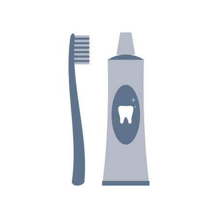 Toothbrush and toothpaste icon isolated on white background. Vector illustration