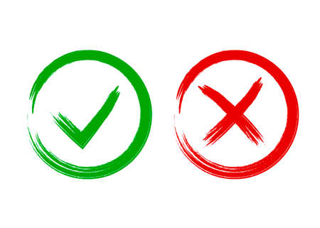 Tick and cross signs. Symbols yes and no, vector illustration