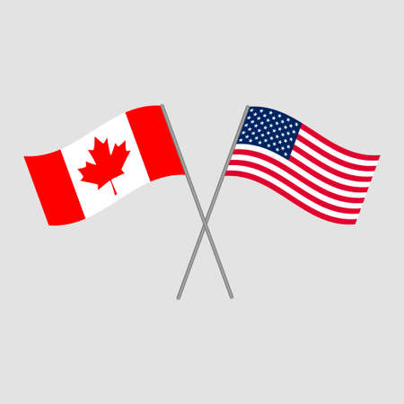 Canadian and American flags, vector illustration Illustration