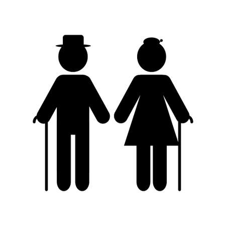 Grandparents couple silhouette isolated on white background. Vector illustration Vettoriali