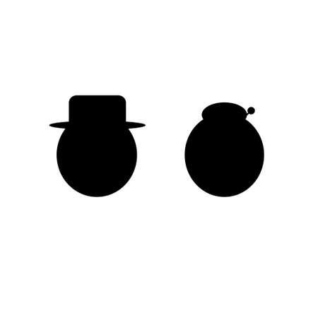 Grandparents couple silhouette, vector illustration
